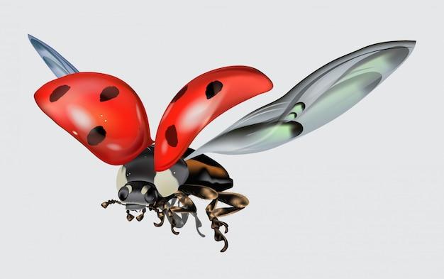 Realictic latająca biedronka odizolowywająca na białym tle. makro obraz owada. ilustracja