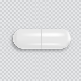 Realistyczna 3d biała pigułka medyczna z miękkim cieniem. wektor