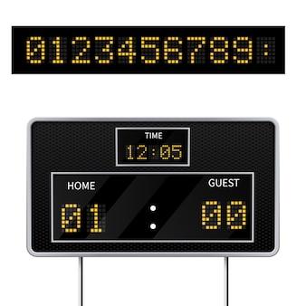 Realistyczna 3d cyfrowa nowoczesna tablica wyników sportowych. cyfrowy wyświetlacz led do wyświetlania wyniku gry.