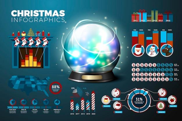 Realistyczna 3d magiczna kula ziemska z biznesowymi infografikami