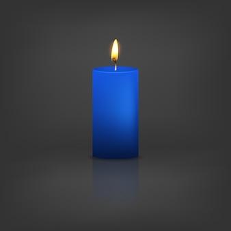 Realistyczna 3d niebieska świeca z odbiciem.