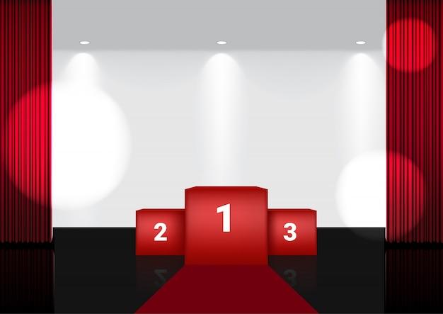Realistyczna 3d otwarta czerwona kurtyna na scenie wręczenia nagród lub w kinie na pokaz, koncert lub prezentację w centrum uwagi