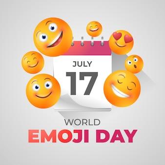 Realistyczna 3d światowa ilustracja dnia emoji