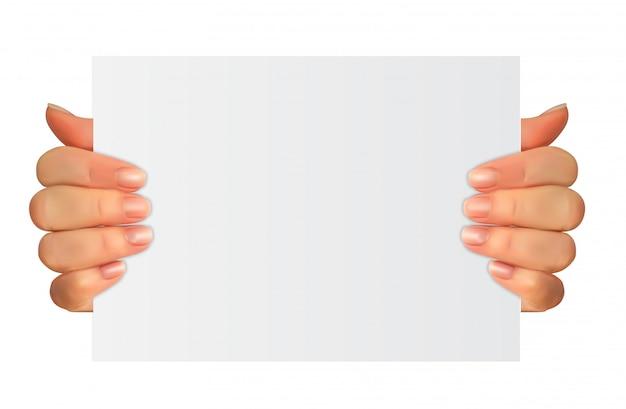 Realistyczna 3d sylwetka ręka z białym papierem