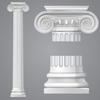 Realistyczna antyczna kolumna jonowa na białym tle