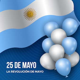 Realistyczna argentyńska ilustracja dia de la revolucion de mayo