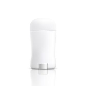 Realistyczna biała butelka dezodorantu w sztyfcie na białym tle - pusty szablon opakowania kosmetycznego produktu przeciwpotowego. ilustracja