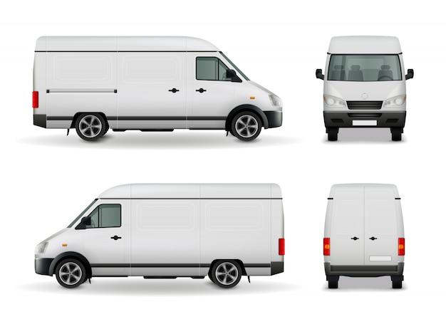 Realistyczna biała furgonetka