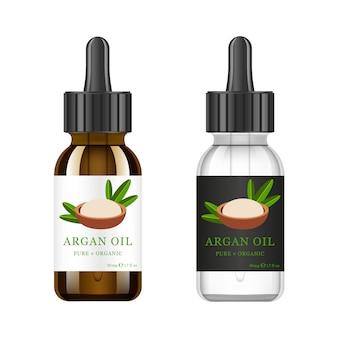 Realistyczna biała i brązowa szklana butelka z ekstraktem z arganu. olejek kosmetyczny - arganowy. szablon etykiety produktu i logo.