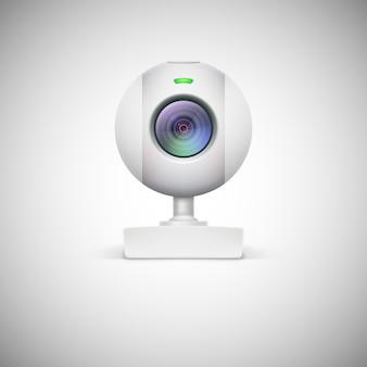 Realistyczna biała ikona kamery internetowej.