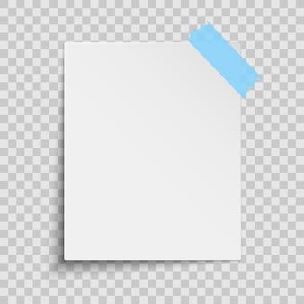 Realistyczna biała kartka papieru na białym tle. niebieska taśma klejąca.