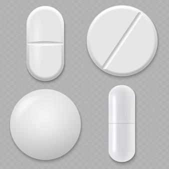 Realistyczna biała pigułka medyczna.