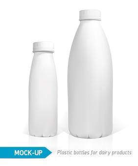 Realistyczna biała plastikowa butelka na nabiał, sok lub mleko. pakiety