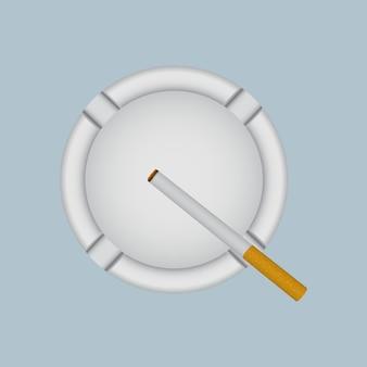 Realistyczna biała popielniczka z zapalonym papierosem.