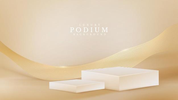 Realistyczna biała prezentacja na podium ze złotą falą na plecach. koncepcja tło luksusowy styl 3d. ilustracja wektorowa do promowania sprzedaży i marketingu.