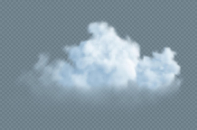 Realistyczna biała puszysta chmura na przezroczystym tle
