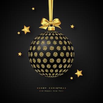 Realistyczna bombka bożonarodzeniowa czarna.