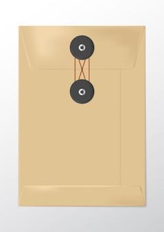 Realistyczna brązowa koperta papierowa z węzłem
