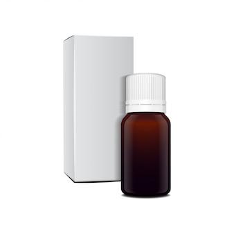 Realistyczna brązowa szklana butelka olejku eterycznego. butelka kosmetyczna lub medyczna fiolka, kolba, ilustracja flakonu
