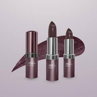 Realistyczna brązowa szminka z pociągnięciem szminki. ilustracja, modny projekt kosmetyczny