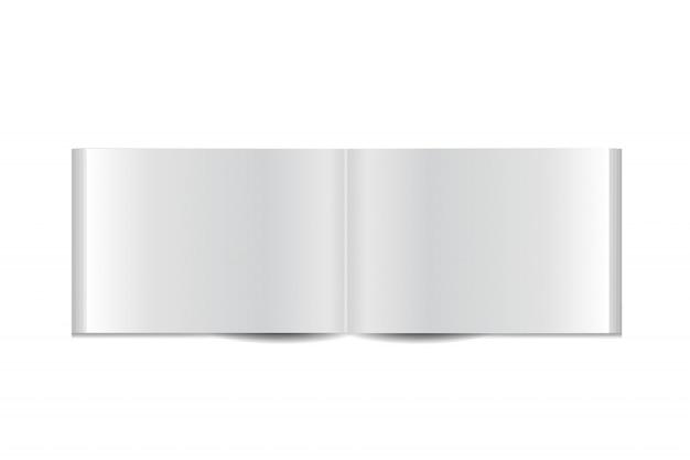Realistyczna broszura na białym tle. realistyczny papierowy szablon makiety do pokrywania, brandingu, korporacyjnej tożsamości biznesowej i reklamy.