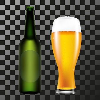 Realistyczna butelka i szklanka piwa z pianką
