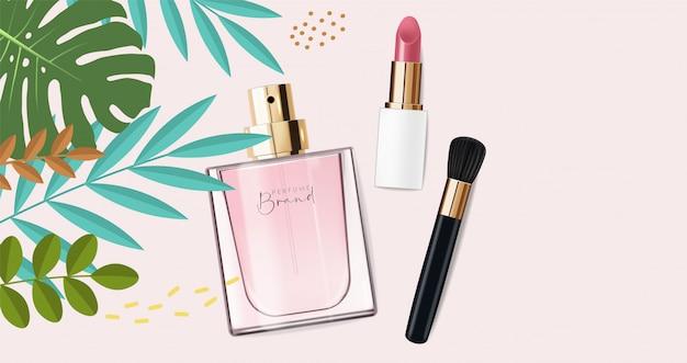 Realistyczna butelka perfum i szminka, izolowany pojemnik 3d, tropikalny letni sztandar. elegancki design, opakowanie, kwiatowy aromat płynny, ilustracja