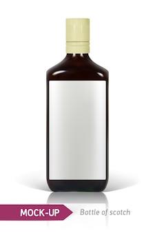 Realistyczna butelka szkockiej na białym tle z odbiciem i cieniem. szablon etykiety.