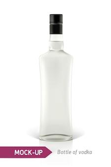 Realistyczna butelka wódki lub inna butelka ginu. na białym tle z cieniem i odbiciem.