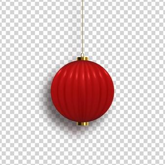 Realistyczna chińska latarnia na białym tle do dekoracji szablonu i pokrycia na przezroczystym tle.
