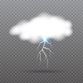 Realistyczna chmura z błyskawicą.