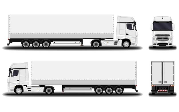 Realistyczna ciężarówka. przedni widok; widok z boku; widok z tyłu.
