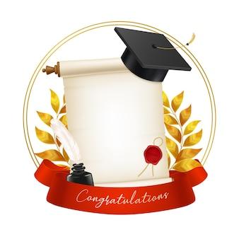 Realistyczna czapka absolwenta korony laurowego kałamarza na białym