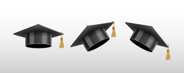 Realistyczna czarna czapka absolwenta uniwersytetu lub college'u
