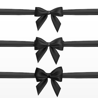 Realistyczna czarna kokarda. element do dekoracji, prezenty, pozdrowienia, święta.