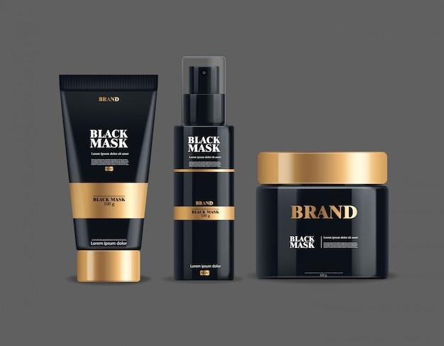 Realistyczna czarna maska, duży zestaw pojemnika, czarny pakiet na białym tle, kosmetyki marki, maska na twarz z węglem drzewnym, ilustracja produktu kosmetycznego
