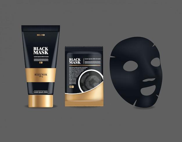 Realistyczna czarna maska, duży zestaw pojemnika, czarny pakiet na białym tle, maska na twarz z węglem drzewnym, ilustracja produktu kosmetycznego