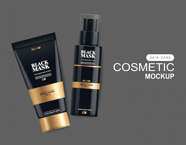 Realistyczna czarna maska, duży zestaw pojemników, czarne opakowanie na białym tle, kosmetyki marki, maska do twarzy z węglem drzewnym, produkt kosmetyczny