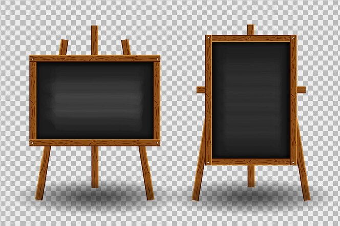Realistyczna czarna tablica z drewnianą ramą