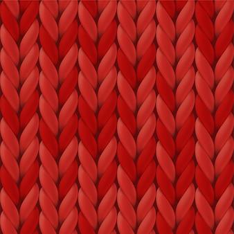 Realistyczna czerwona dzianina tekstura.