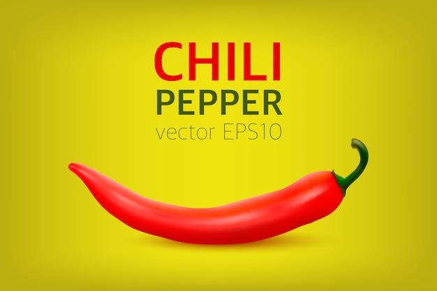 Realistyczna czerwona gorąca naturalna papryka chili.