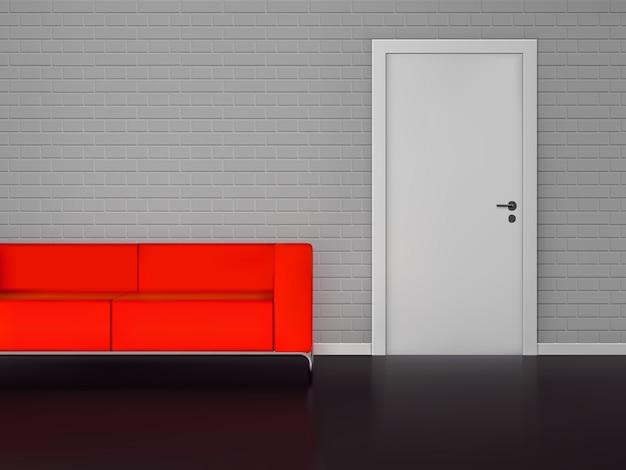 Realistyczna czerwona kanapa