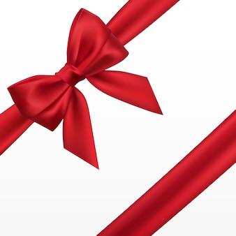 Realistyczna czerwona kokarda. element do dekoracji, prezenty, pozdrowienia, święta.
