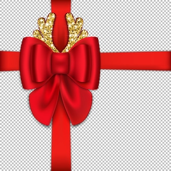 Realistyczna czerwona kokarda i wstążka na prezent na boże narodzenie. z błyszczącymi ozdobnymi rogami