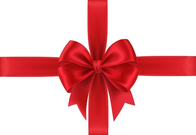 Realistyczna czerwona kokarda na prezent na białym tle