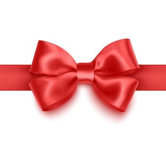 Realistyczna czerwona kokarda, wstążka na białym tle