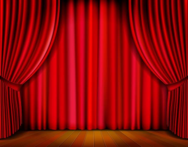 Realistyczna czerwona kurtyna na drewnianej scenie