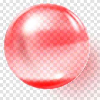 Realistyczna czerwona szklana kula. przezroczysta czerwona kula