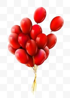 Realistyczna czerwona wiązka latających balonów urodzinowych koncepcja partii i uroczystości