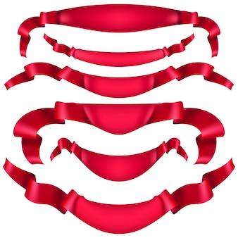Realistyczna czerwona wstążka ozdobna, banery, pasek na białym tle. a także zawiera